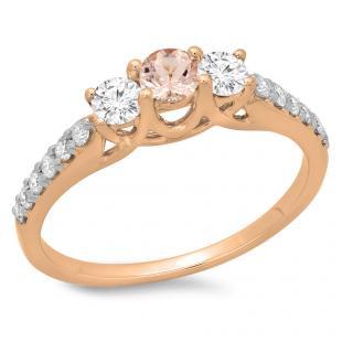 0.75 Carat (ctw) 18K Rose Gold Round Cut Morganite & White Diamond Ladies Bridal 3 Stone Engagement Ring 3/4 CT