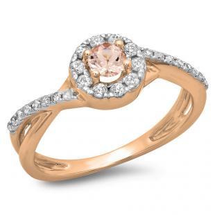 0.50 CT 14K Rose Gold Round Cut Morganite & White Diamond Ladies Swirl Split Shank Bridal Halo Engagement Ring