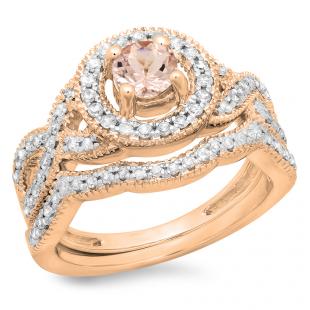 1.00 Carat (ctw) 18K Rose Gold Round Cut Morganite & White Diamond Ladies Swirl Bridal Halo Engagement Ring With Matching Band Set 1 CT