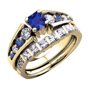 1.75 Carat (ctw) 18K Yellow Gold Princess & Round White Diamond And Blue Sapphire Ladies Bridal Engagement Ring Set 1 3/4 CT