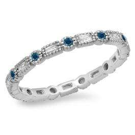 0.40 Carat (ctw) 18K White Gold Round & Baguette Blue & White Diamond Ladies Vintage Style Anniversary Wedding Eternity Band Stackable Ring