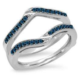 0.30 Carat (ctw) 10K White Gold Round Blue Diamond Ladies Anniversary Wedding Band Enhancer Guard Double Ring 1/3 CT