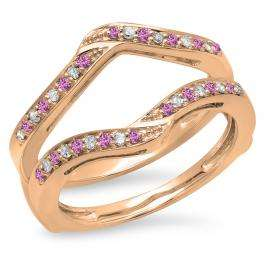 0.30 Carat (ctw) 10K Rose Gold Round Pink Sapphire & White Diamond Ladies Anniversary Wedding Band Enhancer Guard Double Ring 1/3 CT