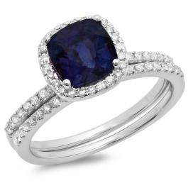 1.75 Carat (ctw) 18K White Gold Cushion Cut Blue Sapphire & Round Cut White Diamond Ladies Bridal Halo Engagement Ring With Matching Band Set 1 3/4 CT