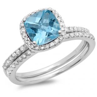 1.75 Carat (ctw) 14K White Gold Cushion Cut Blue Topaz & Round Cut White Diamond Ladies Bridal Halo Engagement Ring With Matching Band Set 1 3/4 CT