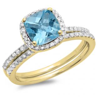 1.75 Carat (ctw) 18K Yellow Gold Cushion Cut Blue Topaz & Round Cut White Diamond Ladies Bridal Halo Engagement Ring With Matching Band Set 1 3/4 CT