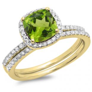 1.75 Carat (ctw) 10K Yellow Gold Cushion Cut Peridot & Round Cut White Diamond Ladies Bridal Halo Engagement Ring With Matching Band Set 1 3/4 CT