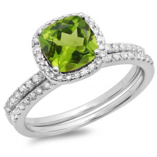 1.75 Carat (ctw) 18K White Gold Cushion Cut Peridot & Round Cut White Diamond Ladies Bridal Halo Engagement Ring With Matching Band Set 1 3/4 CT