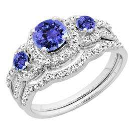 1.40 Carat (ctw) 14K White Gold Round Tanzanite & White Diamond Ladies 3 Stone Halo Bridal Engagement Ring With Matching Band Set