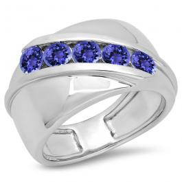 1.00 Carat (ctw) Sterling Silver Real Round Tanzanite Men's Channel Set 5 Stone Anniversary Wedding Band 1 CT