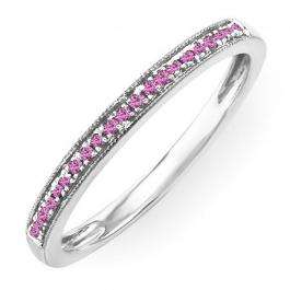0.10 Carat (ctw) Sterling Silver Round Pink Sapphire Wedding Anniversary Stackable Band Ring 1/10 CT