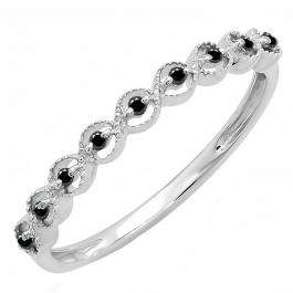 0.10 Carat (ctw) Sterling Silver Round Black Diamond Ladies Anniversary Wedding Stackable Band Ring 1/10 CT