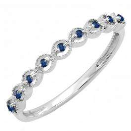 0.10 Carat (ctw) Sterling Silver Round Blue Sapphire Ladies Anniversary Wedding Stackable Band Ring 1/10 CT