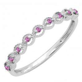 0.10 Carat (ctw) Sterling Silver Round Pink Sapphire Ladies Anniversary Wedding Stackable Band Ring 1/10 CT
