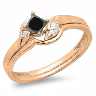0.50 Carat (ctw) 10K Rose Gold Princess & Baguette Cut Black & White Diamond Ladies Bridal Engagement Ring Matching Band Set 1/2 CT