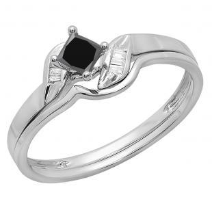 0.50 Carat (ctw) 10K White Gold Princess & Baguette Cut Black & White Diamond Ladies Bridal Engagement Ring Matching Band Set 1/2 CT