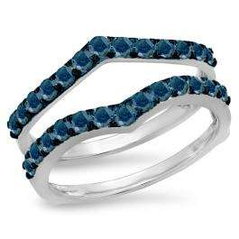 0.95 Carat (ctw) 10K White Gold Round Blue Diamond Ladies Anniversary Wedding Band Enhancer Guard Double Ring 1 CT