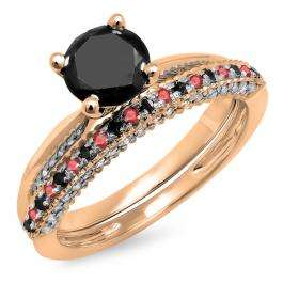 1.50 Carat (ctw) 10K Rose Gold Round Ruby & Black Diamond Ladies Bridal Solitaire Engagement Ring With Matching Wedding Band Set 1 1/2 CT