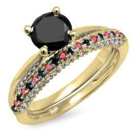 1.50 Carat (ctw) 10K Yellow Gold Round Ruby & Black Diamond Ladies Bridal Solitaire Engagement Ring With Matching Wedding Band Set 1 1/2 CT