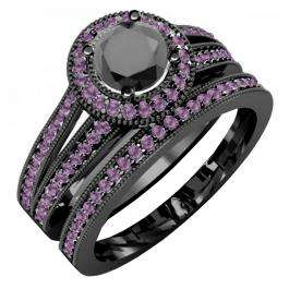 1.25 Carat (ctw) Black Rhodium Plated 18K White Gold Round Amethyst And Black Diamond Ladies Split Shank Halo Style Bridal Engagement Ring Set With Matching Band 1 1/4 CT