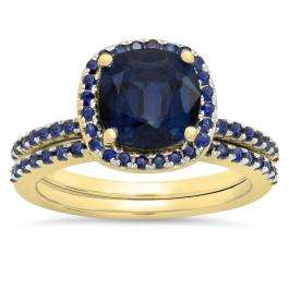 1.75 Carat (ctw) 14K Yellow Gold Cushion & Round Cut Blue Sapphire Ladies Bridal Halo Engagement Ring With Matching Band Set 1 3/4 CT