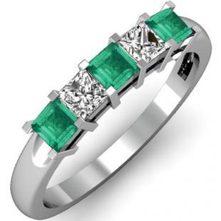 0.75 Carat (ctw) 18K White Gold Princess Cut Green Emerald and White Diamond Ladies 5 Stone Bridal Wedding Band Anniversary Ring 3/4 CT