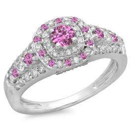 1.00 Carat (ctw) 10K White Gold Round Cut Pink Sapphire & White Diamond Ladies Vintage Style Bridal Halo Engagement Ring 1 CT