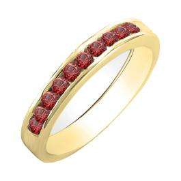 0.70 Carat (ctw) 18K Yellow Gold Princess & Round Cut Ruby Ladies Bridal Solitaire With Accents Engagement Ring 3/4 CT