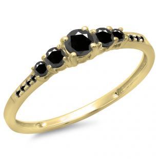 0.40 Carat (Ctw) 14K Yellow Gold Round Cut Black Diamond Ladies Bridal 5 Stone Engagement Ring
