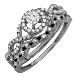 0.60 Carat (ctw) Black Rhodium Plated 10K White Gold Round Black & White  Diamond Ladies Halo Style Bridal Engagement Ring Matching Band Set