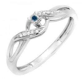 0.06 Carat (ctw) Sterling Silver Round Blue & White Diamond Ladies Crossover Swirl Bridal Promise Engagement Ring