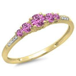 0.40 Carat (ctw) 14K Yellow Gold Round Cut Pink Sapphire & White Diamond Ladies Bridal 5 Stone Engagement Ring