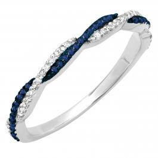 0.25 Carat (ctw) 14K White Gold Round Blue Sapphire & White Diamond Ladies Anniversary Wedding Band Swirl Stackable Ring 1/4 CT