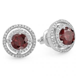 1.17 Carat (ctw) 14K White Gold Round Garnet & White Diamond Ladies Halo Style Stud Earrings