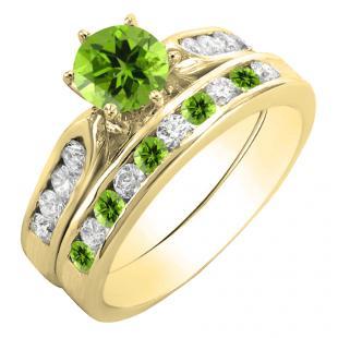 1.00 Carat (ctw) 14K Yellow Gold Round Peridot & White Diamond Ladies Bridal Engagement Ring Set With Matching Band 1 CT