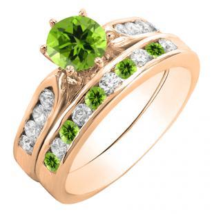 1.00 Carat (ctw) 18K Rose Gold Round Peridot & White Diamond Ladies Bridal Engagement Ring Set With Matching Band 1 CT