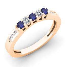 0.35 Carat (ctw) 10K Rose Gold Princess & Round Cut Blue Sapphire & White Diamond Ladies Anniversary Wedding Stackable Band Guard Ring 1/3 CT
