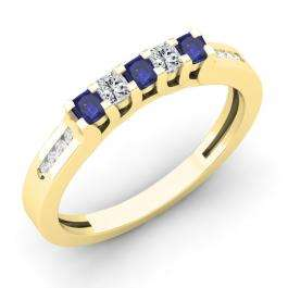 0.35 Carat (ctw) 10K Yellow Gold Princess & Round Cut Blue Sapphire & White Diamond Ladies Anniversary Wedding Stackable Band Guard Ring 1/3 CT