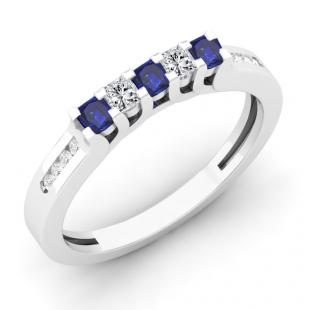0.35 Carat (ctw) 18K White Gold Princess & Round Cut Blue Sapphire & White Diamond Ladies Anniversary Wedding Stackable Band Guard Ring 1/3 CT