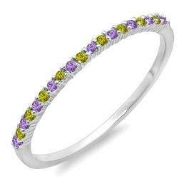 0.16 Carat (ctw) 10K White Gold Round Amethyst & Peridot Ladies Anniversary Wedding Band Stackable Ring