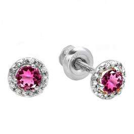 0.75 Carat (ctw) 18K White Gold Round Pink Tourmaline & White Diamond Ladies Halo Style Stud Earrings 3/4 CT