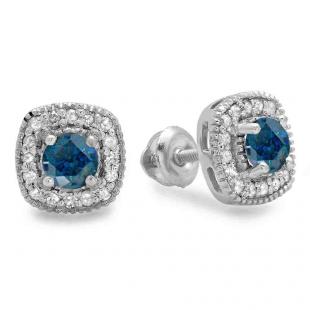 0.75 Carat (ctw) 10K White Gold Round Cut Blue & White Diamond Ladies Halo Stud Earrings 3/4 CT