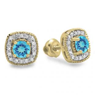 0.75 Carat (ctw) 10K Yellow Gold Round Cut Blue Topaz & White Diamond Ladies Halo Stud Earrings 3/4 CT