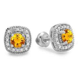 0.75 Carat (ctw) 18K White Gold Round Cut Citrine & White Diamond Ladies Halo Stud Earrings 3/4 CT