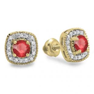 0.75 Carat (ctw) 10K Yellow Gold Round Cut Ruby & White Diamond Ladies Halo Stud Earrings 3/4 CT