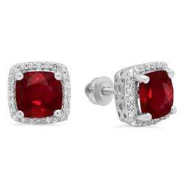 2.80 Carat (ctw) 14K White Gold Cushion Cut Ruby & Round Cut White Diamond Ladies Square Frame Halo Stud Earrings