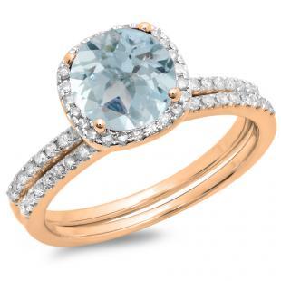 1.35 Carat (ctw) 18K Rose Gold Round Cut Aquamarine & White Diamond Ladies Bridal Halo Engagement Ring With Matching Band Set 1 3/4 CT