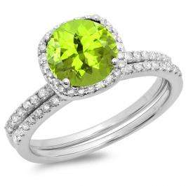 1.75 Carat (ctw) 10K White Gold Round Cut Peridot & White Diamond Ladies Bridal Halo Engagement Ring With Matching Band Set 1 3/4 CT