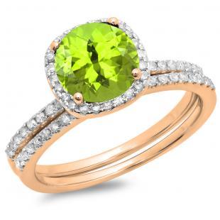 1.75 Carat (ctw) 14K Rose Gold Round Cut Peridot & White Diamond Ladies Bridal Halo Engagement Ring With Matching Band Set 1 3/4 CT