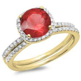 1.75 Carat (ctw) 10K Yellow Gold Round Cut Ruby & White Diamond Ladies Bridal Halo Engagement Ring With Matching Band Set 1 3/4 CT